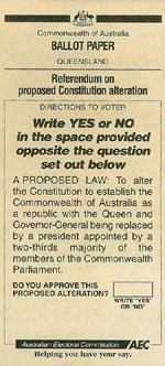 A ballot paper from the 1999 republic referendum